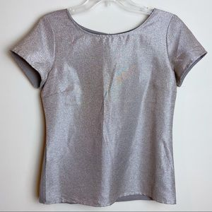 The Limited Gold Glitter Holiday Short Sleeve TopS